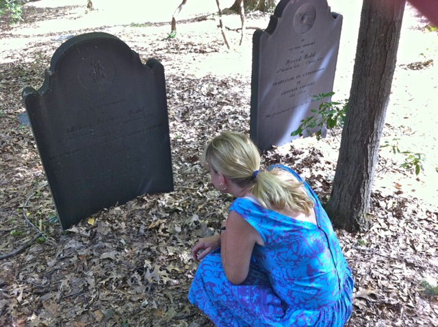 Julie Dobrow at Mabel Loomis Todd's grave